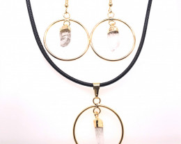 Raw Circle Crystal Set Pendant & Earrings - BR 1136