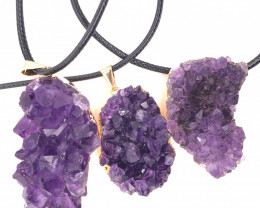 3 x Amethyst Raw Set - High Grade Druzy Pendant - BR 1137
