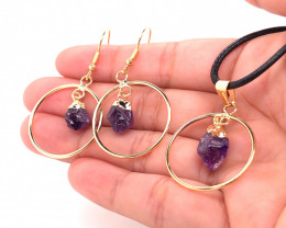 Raw Circle Amethyst Set Pendant & Earrings - BR 1142