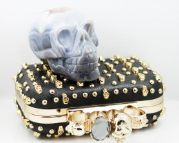 Crystal Jasper Skull with Bonus Skull Purse WS 1002