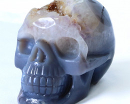 1.14 Kilo Crystal Geode on jasper hand carved Skull WS 509
