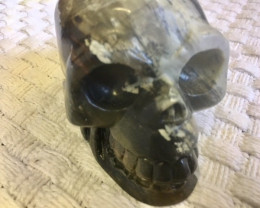 0.667 Kilo motly greys Jasper Gemstone Skull PPP 1677