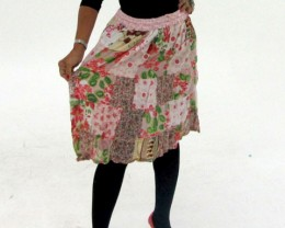 Patchwork Cotton Mid Length Skirt  OP 35