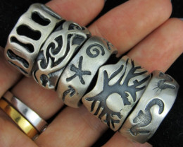 Pewter Rings 5 Mixed designs PE49