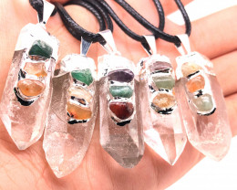 5 x Parcel Terminated Point Crystal Chakra Pendant - BR 1194