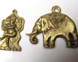 TWO BRASS ELEPHANT PENDANT 23 GRAMS GTT 1633