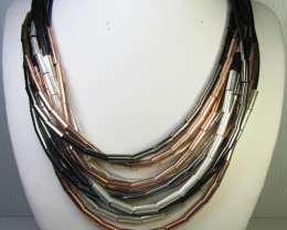 BLACK, SILVER ,COPPER   STYLE  NECKLACE    QT261