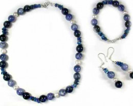LAPIS AND SODALITE WITH SOUTH SEA PEARLS GEMSTONE BEADS 4PC SET G442