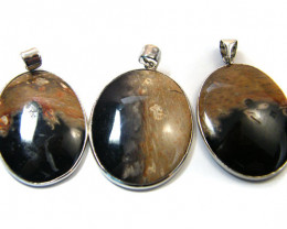 3 NATURAL PALM ROOT FOSSIL SET IN PENDANT AAA2758