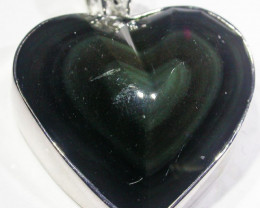 MEXICAN CHATOYANT OBSIDIAN S/S PENDANT AGR 721