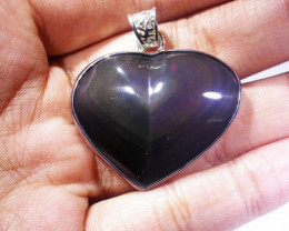 MEXICAN CHATOYANT OBSIDIAN S/S PENDANT AGR 723