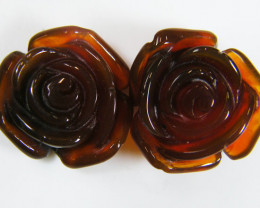 PAIR NATURAL FLOWER CARVING AGATE STONES 25.4 CTS AAT 340