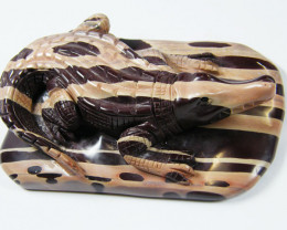 CROCODILE CARVED FROM ZEBRA ROCK 1341.35CTS AAT271