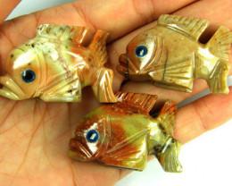 PARCEL 3 CUTE FISH ROCK CARVINGS FROM PERU AAA 1037