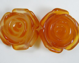 PAIR NATURAL FLOWER CARVING AGATE STONES 23.25 CTS AAT 356