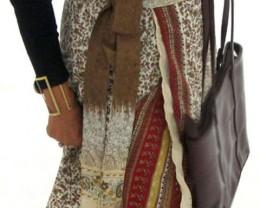 Reversible Silk Mid Length Wrap Skirt OP 37