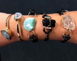 4 x Raw Rock & Funny Gemstones Bracelets - BR 1213