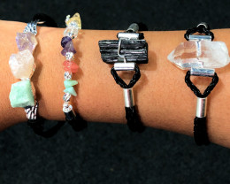 4 x Raw Rock & Funny Gemstones Bracelets - BR 1216