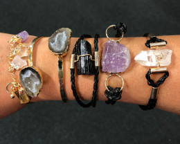 5 x Raw Rock & Funny Gemstones Bracelets - BR 1221