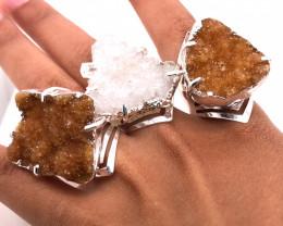 3 x Raw High Grade Druzy Gemstone Silver Ring - BR 1236