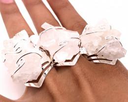 3 x Raw High Grade Druzy Gemstone Silver Ring - BR 1237