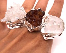 3 x Raw High Grade Druzy Gemstone Silver Ring - BR 1238