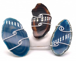 3 x Agate Ring Silver Plated wire wrapped - BR 1250