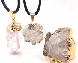 Crystal & Golden Lovers Jewelry Set - BR 1259