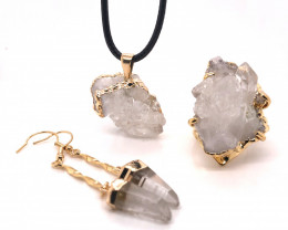 Crystal & Golden Lovers Jewelry Set - BR 1260