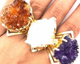 3 x Raw High Grade Druzy Gemstone Golden Ring - BR 1293