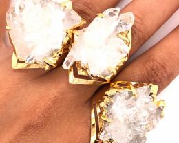 3 x Raw High Grade Druzy Gemstone Golden Ring - BR 1295
