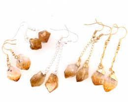 5 x Raw Beautiful Citrine Earrings Lovers - BR 1325
