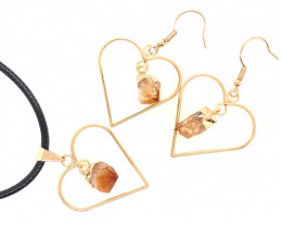 Heart Design Citrine Raw Set Earrings & Pendant - BR 1364