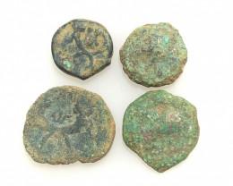 As Found ,four Nabataean Bronze Coins CP 113
