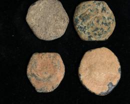 As Found ,four Nabataean Bronze Coins CP 108