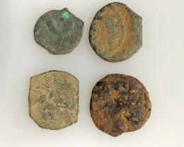 As Found ,four Nabataean Bronze Coins CP 109