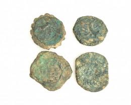 As Found ,four Nabataean Bronze Coins CP 110