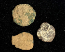 Original as found, 3 Judean  Bronze  coins Found Holy land CP 177
