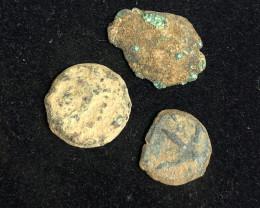 Original as found, 3 Judean  Bronze  coins Found Holy land CP 176
