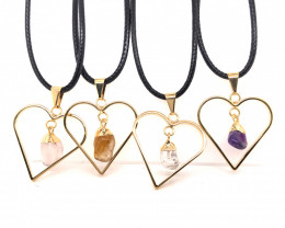 4 x Pendants Lovers Mixed Natural Gemstones - BR 1390