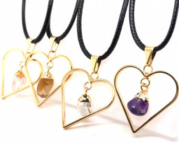 4 x Pendants Lovers Mixed Natural Gemstones - BR 1391