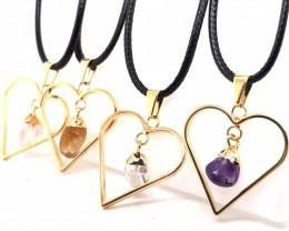 4 x Pendants Lovers Mixed Natural Gemstones - BR 1391
