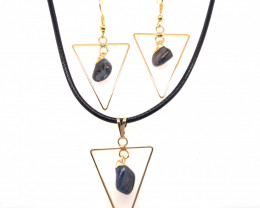 Holystic Triangle Design Tumbled Sodalite Set Earrings & Pendant - BR 1400