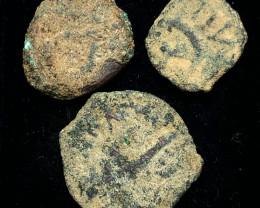 Original as found, 3 Judean  Bronze  coins Found Holy land CP 180
