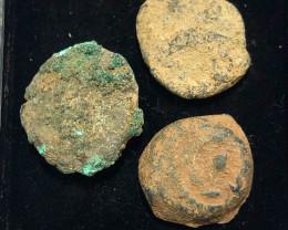 Original as found, 3 Judean  Bronze  coins Found Holy land CP 162
