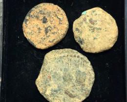 Original as found, 3 Judean  Bronze  coins Found Holy land CP 184