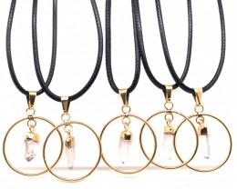 5 x Crystal Golden Lovers Pendants - BR 1521