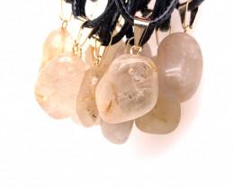 12 x Quartz Tumbled Pendants, Full Rock Crystal BR2268