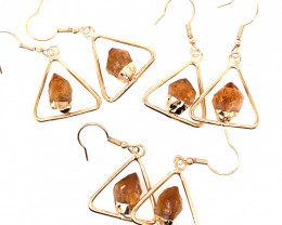 3 x Holystic Triangle Design Tumbled Citrine Set Earrings - BR 1529