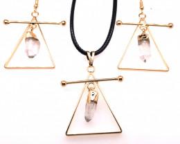 Raw Crystal Triangle Earth symbol - 3 pc set - BR 1535